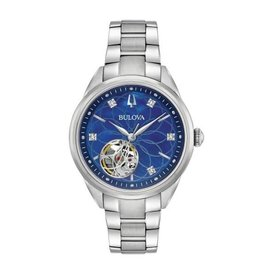 Bulova Bulova Automatic Ladies Silver Tone Diamond and Blue Mother of Pearl Dial Watch