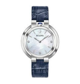 Bulova Bulova Rubaiyat Ladies Blue Leather Strap Diamond and Mother of Pearl Dial Watch