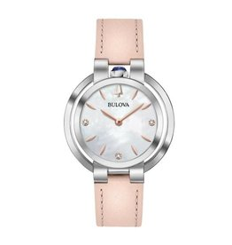 Bulova Bulova Rubaiyat Ladies Pink Leather Strap Diamond and Mother of Pearl Dial Watch