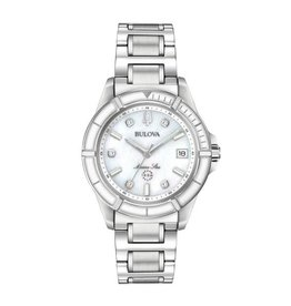 Bulova Bulova 96P201 Ladies Marine Star Silver Mother of Pearl Diamond Dial Watch