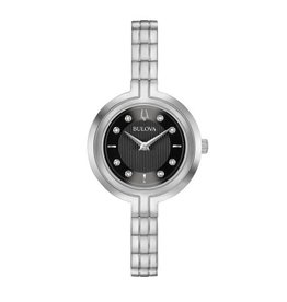 Bulova Bulova Ladies Silver Tone Diamond and Black Dial Watch