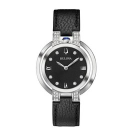 Bulova Bulova Rubaiyat Ladies Black Leather Strap Diamond and Black Dial Watch