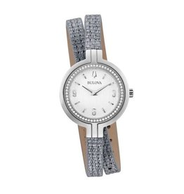 Bulova Bulova Ladies Diamonds and Silver Leather Double Wrap Strap Watch