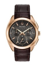 Bulova Bulova Curv Mens Chronograph Rose Tone with Brown Leather Strap and Dark Grey Dial Watch