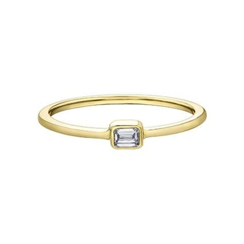 Yellow Gold Baguette (0.10ct) Diamond Stackable Ring (10K, 14K)