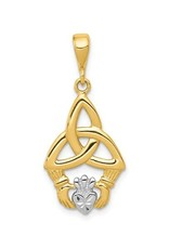 14K Yellow Gold & Rhodium Plated Celtic Trinity Claddagh Pendant