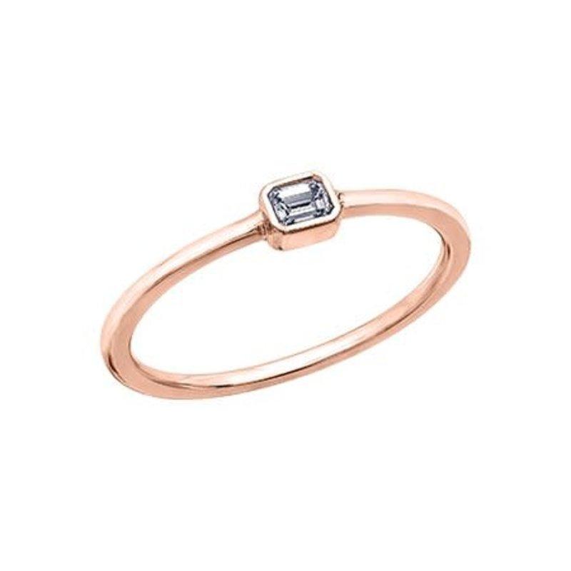 Rose Gold Emerald Cut  (0.10ct) Diamond Stackable Ring (10K, 14K)