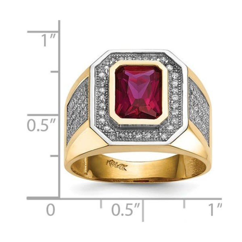 14K Yellow Gold CZ And Emerald-Cut Red CZ Mens Ring