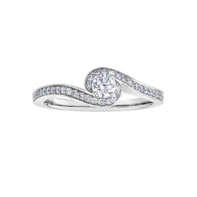 Maple Leaf Diamonds 14K White Gold (0.38ct) Canadian Maple Leaf Diamond Ring -01