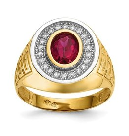 14K Yellow Gold With Rhodium CZ And Oval Red CZ Mens Ring
