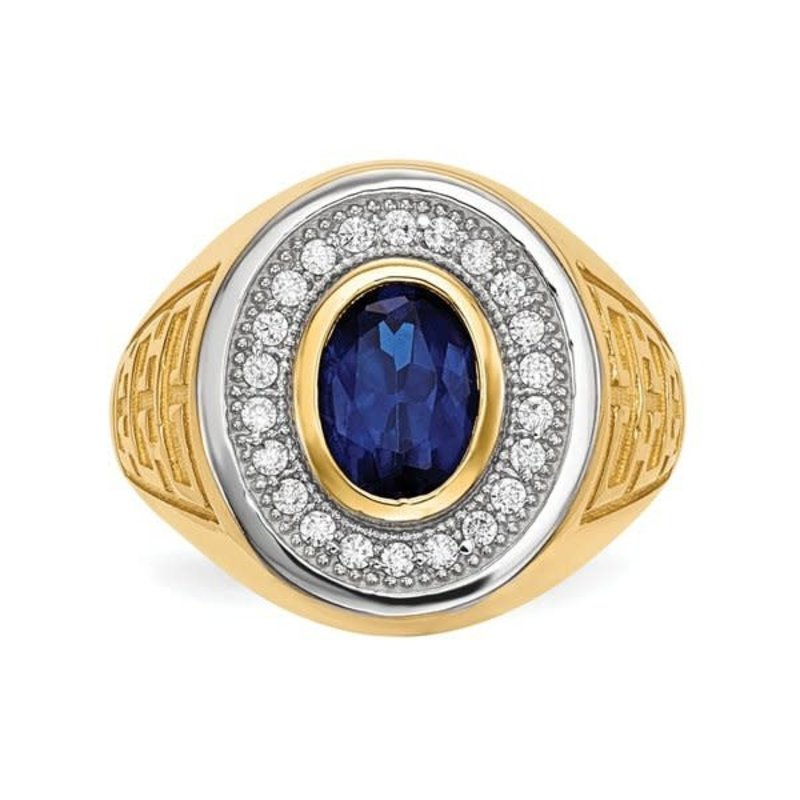 14K Yellow Gold With Rhodium CZ And Oval Blue CZ Mens Ring