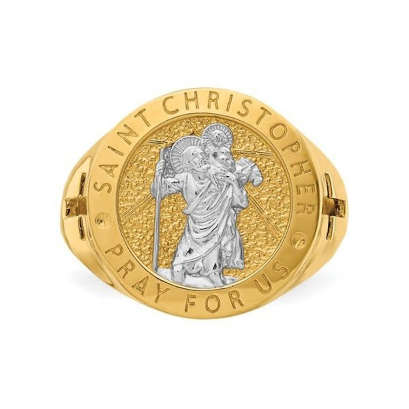 14K Yellow Gold With Rhodium Plating Saint Christopher Ring