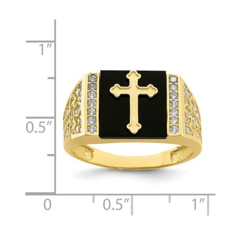 10K Yellow Gold CZ And Onyx Cross Men's Ring