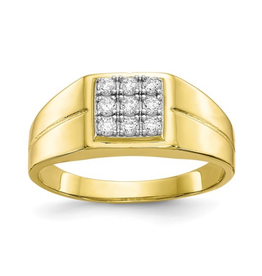 Yellow Gold C Z Men's Ring