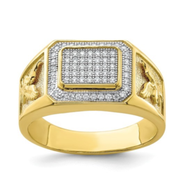Yellow Gold Men's CZ Eagle Fancy Ring