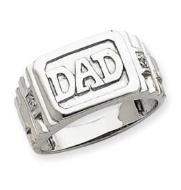 14K White Gold (0.008ct) Dad's Diamond Ring