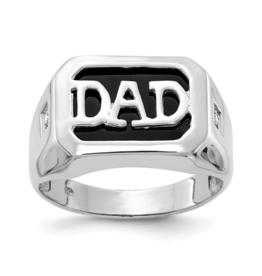 14K White Gold (0.016ct) Diamond and Black Onyx DAD Ring