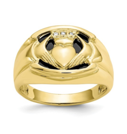 Yellow Gold Men's Diamond and Black Onyx Claddagh Ring