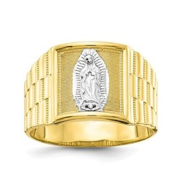 10k Yellow Gold And Rhodium Men's Our Lady Of Guadalupe Ring