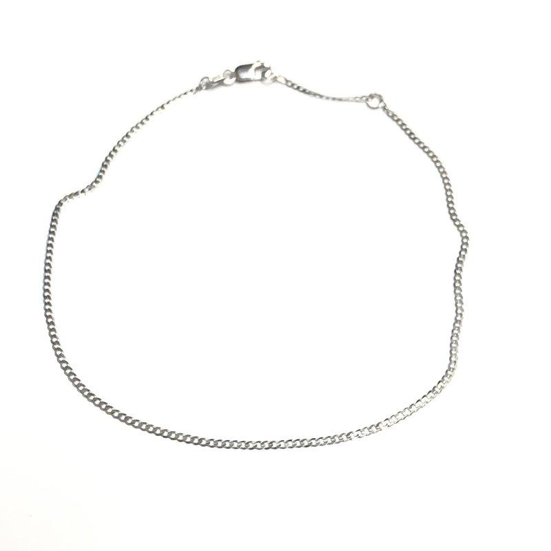 "10K White Gold (1.5mm) Curb Ankle Bracelet 9""/10"""