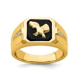 14K Yellow Gold (0.005ct) Diamond and Black Onyx Eagle Ring