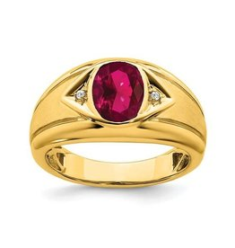 14K Yellow Gold Created Ruby And Diamond Men's Ring