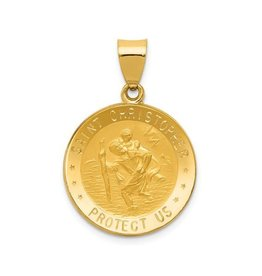 14K Yellow Gold (19mm) Round St. Christopher Pendant
