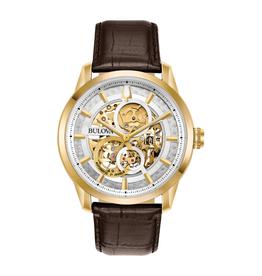 Bulova Bulova Sutton Automatic Mens Skeleton Dial Brown Leather Strap Watch