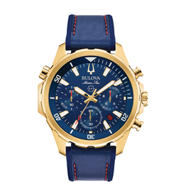 Bulova Bulova Marine Star Mens Chronograph Gold Tone with Blue Leather and Silicone Strap Watch