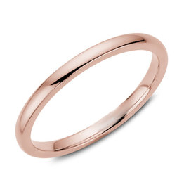 Rose Gold (2mm) Dome Band Size 3 to 13 (10K, 14K, 18K)