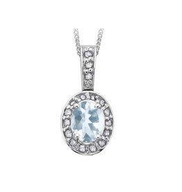 White Gold Aquamarine and Diamond Mach Birthstone Pendant