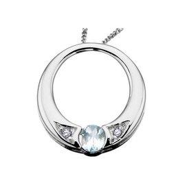 White Gold Aquamarine and Diamond Mach Birthstone Circle Pendant