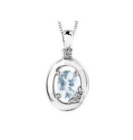 Sterling Silver Aquamarine and Diamond Mach Birthstone Pendant