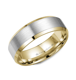 Crown Ring Yellow and Brushed White Gold 7mm Band