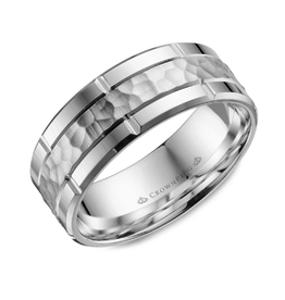 Crown Ring White Gold (8mm) Sandblast Hammered Centre Men's Band (10K, 14K ,18K)