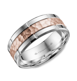 Crown Ring Rose & White Gold (8mm) Sandblast Hammered Centre Men's Band (10K, 14K ,18K)