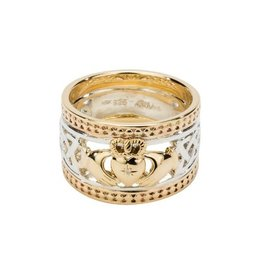 Keith Jack Keith Jack Sterling Silver and Yellow Gold Claddagh Ring with Diamond