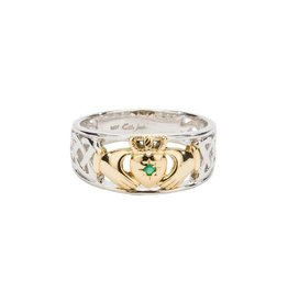 Keith Jack Keith Jack 10K White and Yellow Gold Claddagh Ring with Emerald