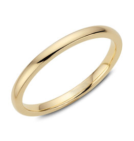 Yellow Gold (2mm) Dome Band Size 3 to 13 (10K, 14K, 18K)