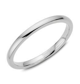 White Gold (2mm) Dome Band Size 3 to 13 (10K, 14K, 18K)