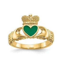 14K Green Enameled Claddagh Ring