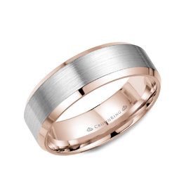 Crown Ring 10K Rose and White Gold (7mm) Brushed Band