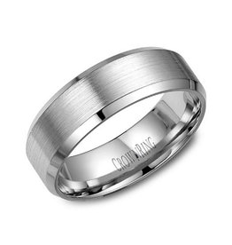 Crown Ring 10K Beveled Edges (7mm) White Gold Brushed Band