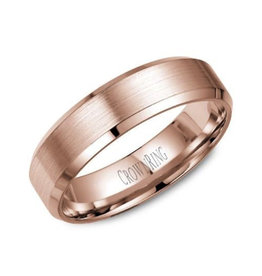 Crown Ring 10K Bevelled (6mm) Rose Gold Brushed Band