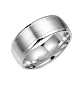 Crown Ring White Gold Brushed Centre Band (8mm)
