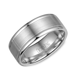 Crown Ring 10K White Gold (8mm) Sandblast Centre Mens Band