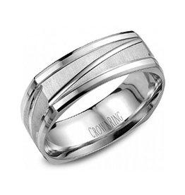 Crown Ring Crown Ring White Gold Soft Square 7mm Finish Men's Wedding Band