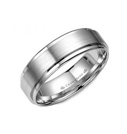 Crown Ring Crown Ring White Gold Flat Beveled Brushed 6mm Men's Wedding Band