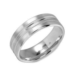 Crown Ring Crown Ring White Gold Double Ridges 7mm Men's Wedding Bands