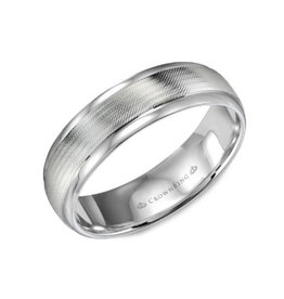 Crown Ring Crown Ring White Gold Textured Center 8mm Men's Wedding Band